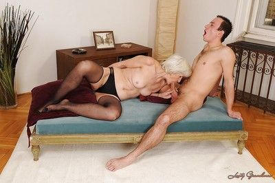 Lustful granny in stockings gets her bushy cunt licked and drilled hardcore