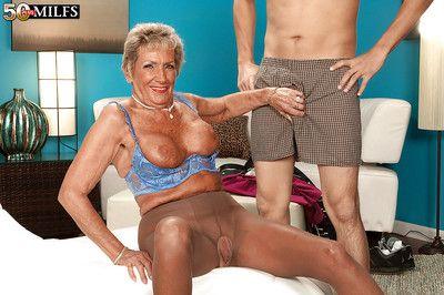 Tempting granny in nylon pantyhose Sandra Ann blowing big dick and masturbating