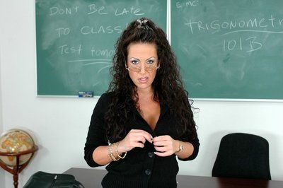 Mature teacher in glasses Anjelica Lauren strips to black stockings