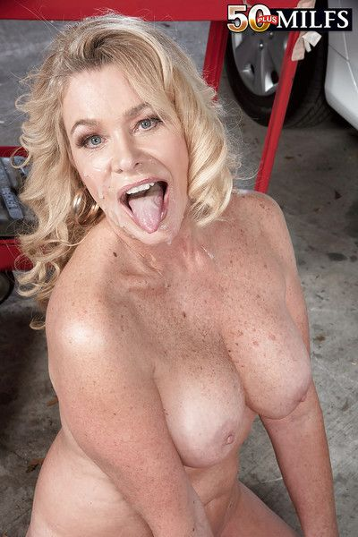 Older blonde lady Lauren Taylor receiving sperm on face after fucking mechanic