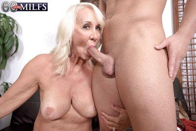 Horny granny Madison Milstar reveals saggy boobs before hardcore sex