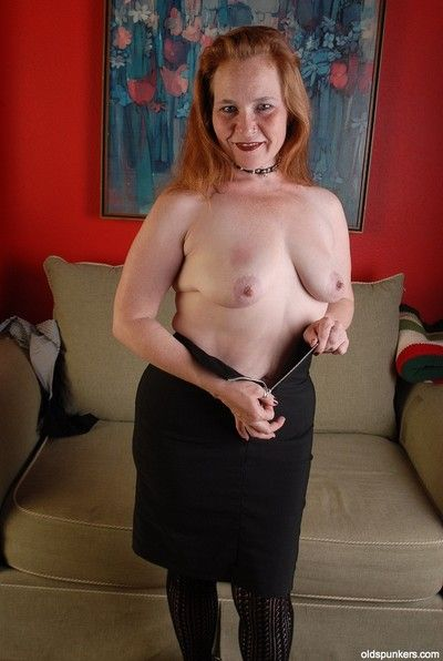 Stunning granny Spicy is trying to lick her lovely hard nipples