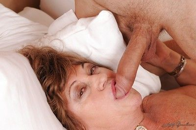 Filthy granny gets her hairy cunt cocked up and takes cumshot in her mouth