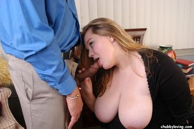 Mature BBW lets massive boobs free for nipple licking in pantyhose