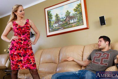 Milf in stockings Julia Ann sucks and fucks cock and of corse gets cum shot over breasts