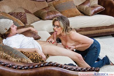 Mom in glasses Cory Chase sucks and swallows in close-up clip