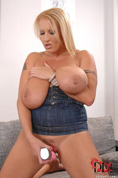 Dirty and busty blonde MILF Laura Orsolya pleases herself with sex toys & masturbation