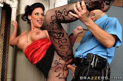 Gorgeous woman Phoenix Marie in black pattern pantyhose gets fucked by horny policeman