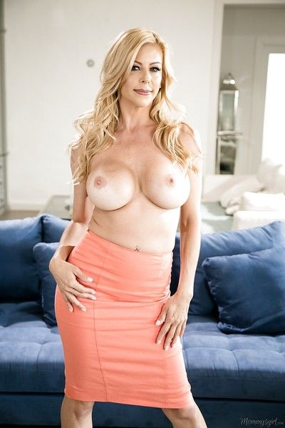 Older blonde solo girl Alexis Fawx loosing huge tits and ass from lingerie