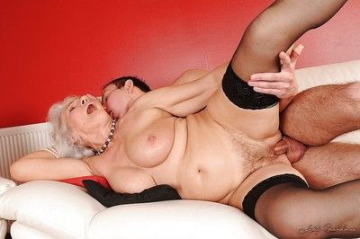 Horny granny with big flabby tits gets her hairy twat fucked hardcore