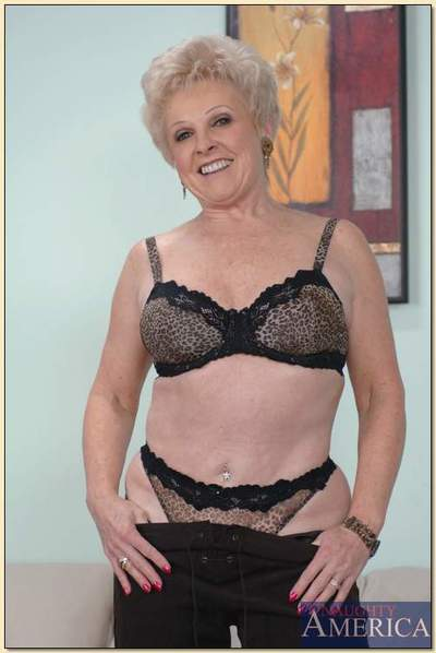 Heated granny Mrs. Jewell revealing boobs from lacy underwear