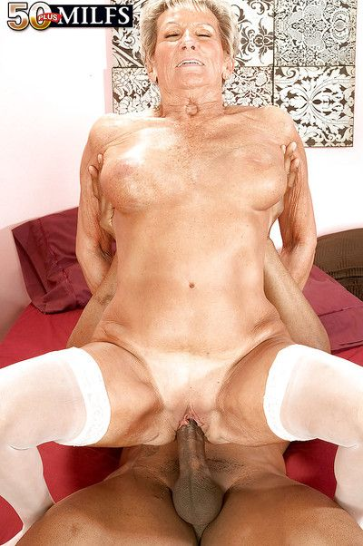 Heated granny in white stockings Sandra Ann screwed with a big black cock