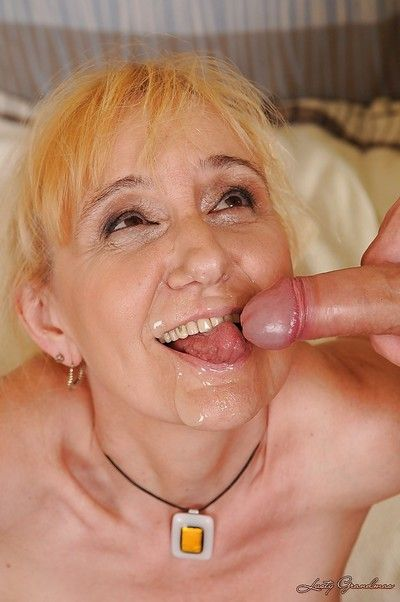 Filthy granny with tiny tits gets fucked and facialized by a younger lad