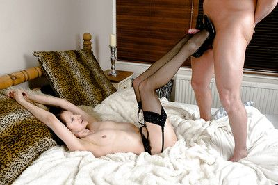 Filthy granny in stockings is into hardcore double penetration action