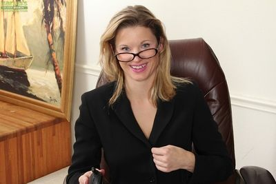 Horny blonde Avery Johannson slowly takes off her office uniform