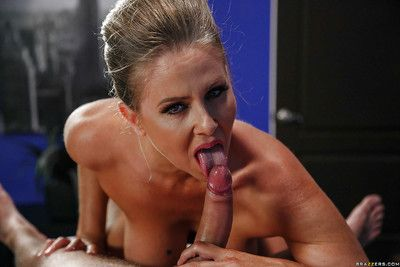 Classy mature pornstar Julia Ann having nice ass oiled after hose removal