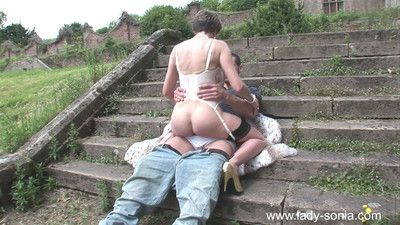 Hot milf lady sonia fucks a stud outdoors