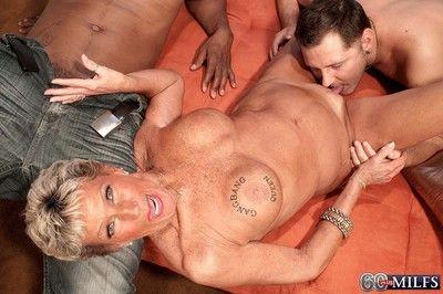 Dirty 60granny milf sandra ann doing two hard cocks