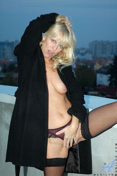 Merilyn peels off her tiny lacey panties