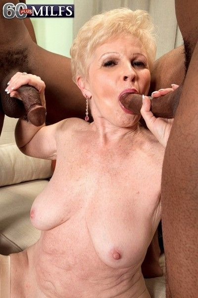 Double cocks for hot mature woman in interracial sex threesome