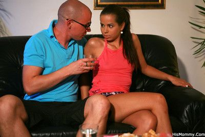 Mom and guys girlfriend have a drink at home and it all ends with hot strapon se