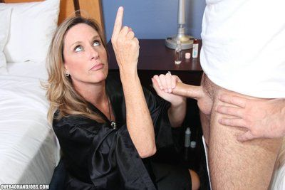 Sexy over 40 milf Jodi West jerks off and handjobs Joey