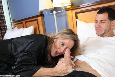 Sexy over 40 milf Jodi West jerks off and handjobs Joey