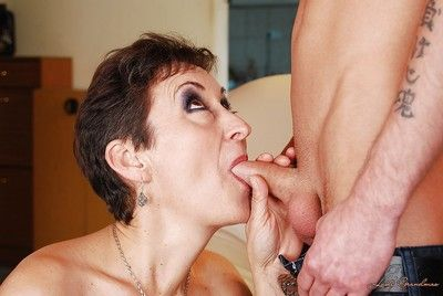 Granny with a hairy cunt enjoy hardcore sex with a big dick