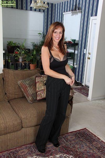 Hot mature woman with big boobs Karen Jones looks hot in stockings