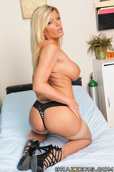 Big titted milf doctor Kristal Summers in glasses gets banged by her younger patient