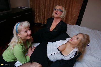 Three lesbian mature ladies having a party