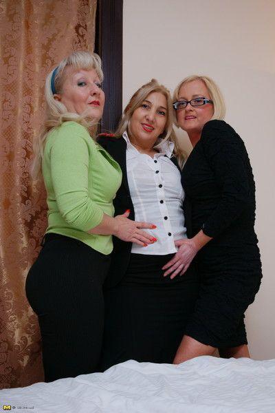 Three lesbian mature ladies having a party
