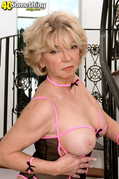 Busty mature lady in sexy stocking