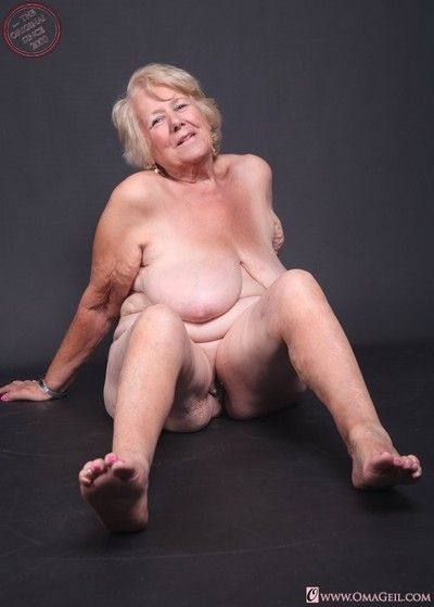 Dirty naked old woman solo play