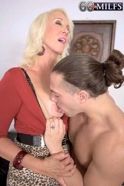 Old granny seducing young cock in office