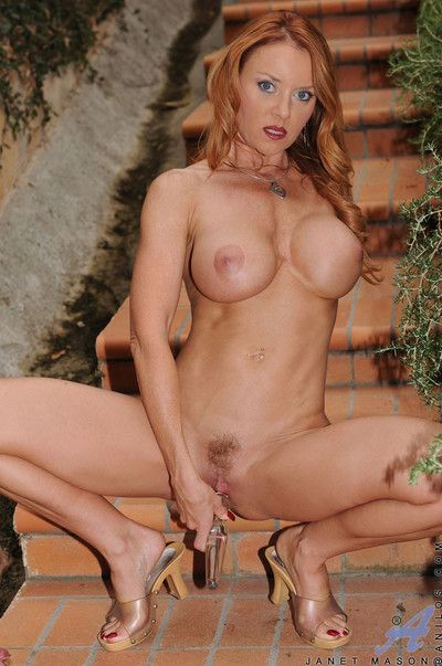 Hot brunette anilos janet mason showing all her glory and toying her own pussy o