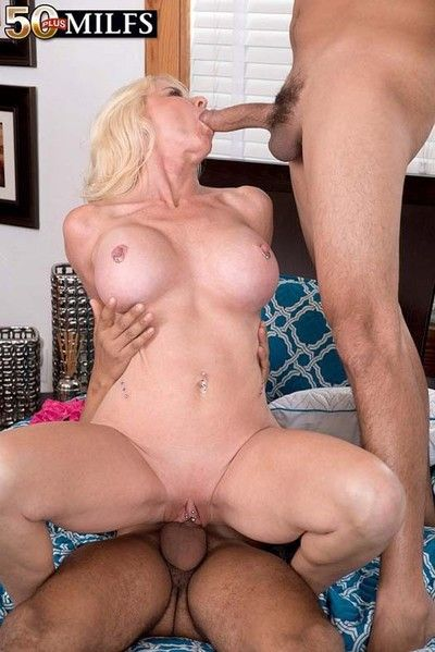 Busty milf whore cammille austin fucking two large cocks
