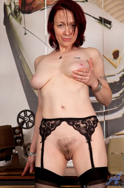 Mom next door reveals hairy pussy and tasty natural tits
