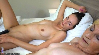 Lesbian licking and dildo playing
