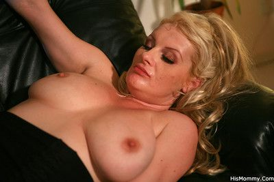 A home party with guy and his mother ends with the milf fucking her gfs brains o