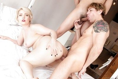 Irresistible chubby hottie Denali gets nailed by two big cocks