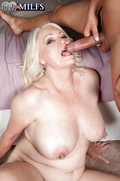 Overweight blonde granny Angelique DuBois displaying hangers during sex acts