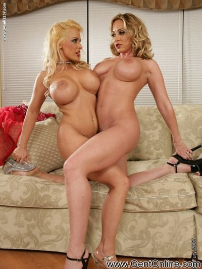 Busty lesbian milfs Holly Halston and Jennifer Steele dildo and lick each others shaved pussies