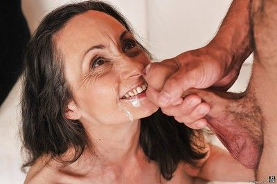Slender granny Milly taking dick in shaved pussy after pussy licking
