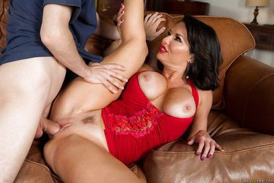 Busty older brunette Veronica Avluv seducing younger man with huge cock