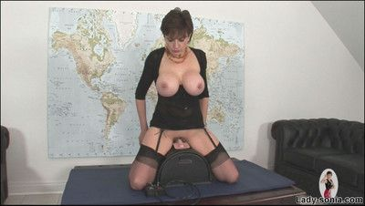 Sybian riding huge tits nylons milf lady sonia