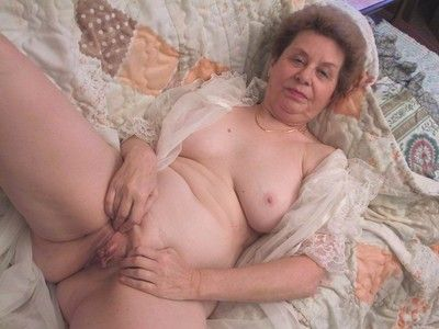 Very old granny playing with her pussy