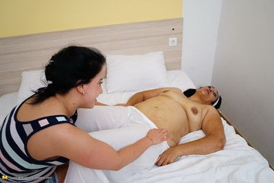 Naughty young babe seducing a mature lesbian