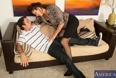 Hot brunette cougar fucks younger cock so she can orgasm.