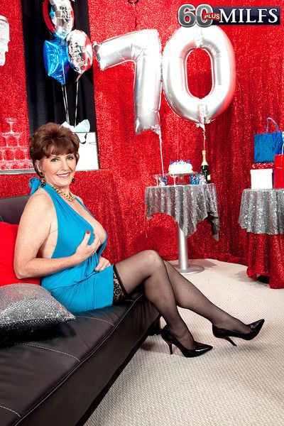 70th birthday surprise with two cocks for her mature ass